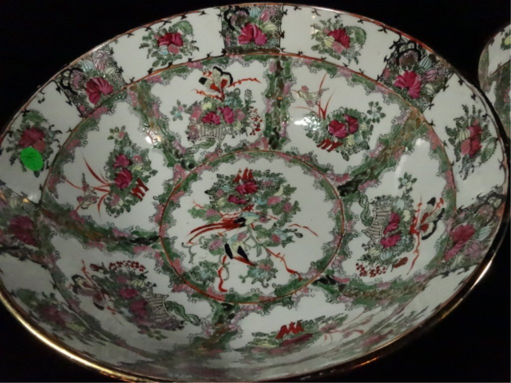 """2 CHINESE BOWLS, LARGER APPROX 6.25""""H X 14 1/8"""", - 3"""