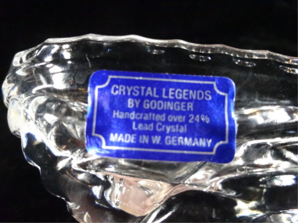 "GODINGER CRYSTAL SHOE, 24% LEAD CRYSTAL, APPROX 7""L - 5"