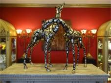 2 HUGE SILVER PATINA BRONZE GIRAFFE SCULPTURES LARGEST