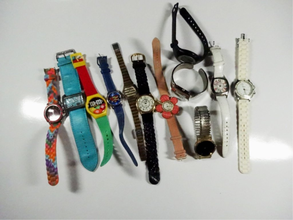 12 ASSORTED WATCHES, INCLUDES M&M'S AND SUPERMAN