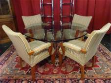 CHROME CYLINDER DINING TABLE, 4 ARMCHAIRS, TABLE IS IN