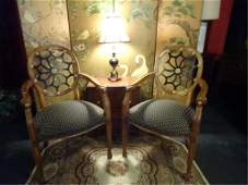 PAIR SPIDER WEB BACK ARMCHAIRS, GOLD ACCENTS,