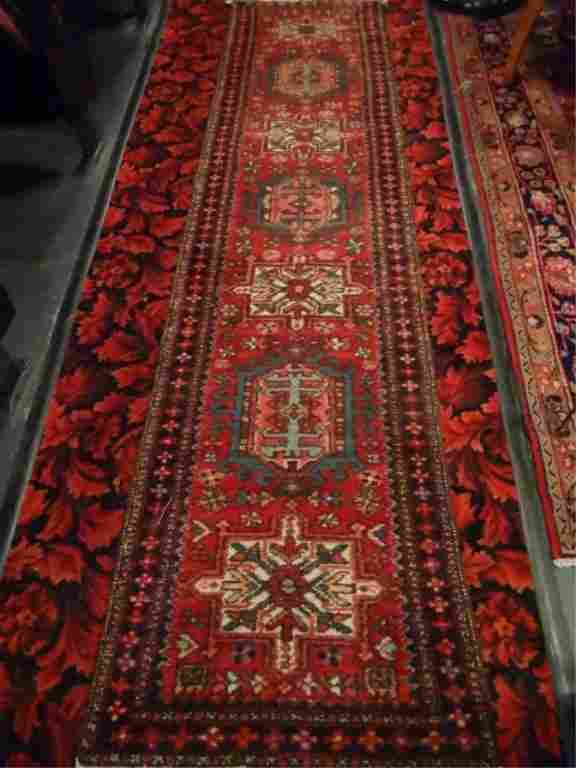 PERSIAN STYLE WOOL RUG RUNNER, RED, BLUE, AND GOLD,