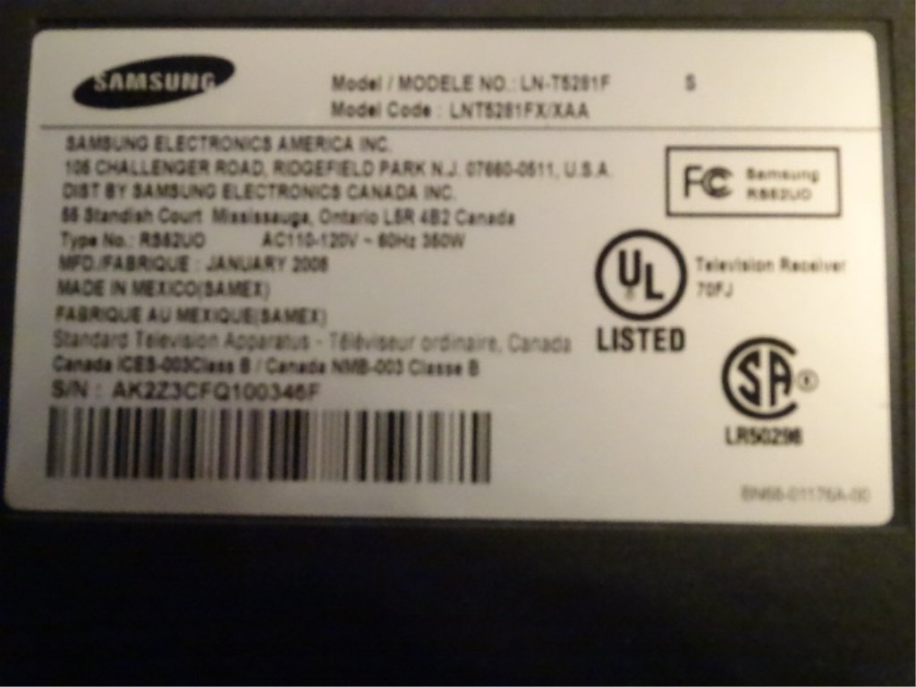 SAMSUNG 52 INCH LCD HDTV, 1080p, WITH LED MOTION PLUS - 3