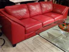 MODERN DESIGN RED LEATHER SOFA, VERY GOOD GENTLY USED