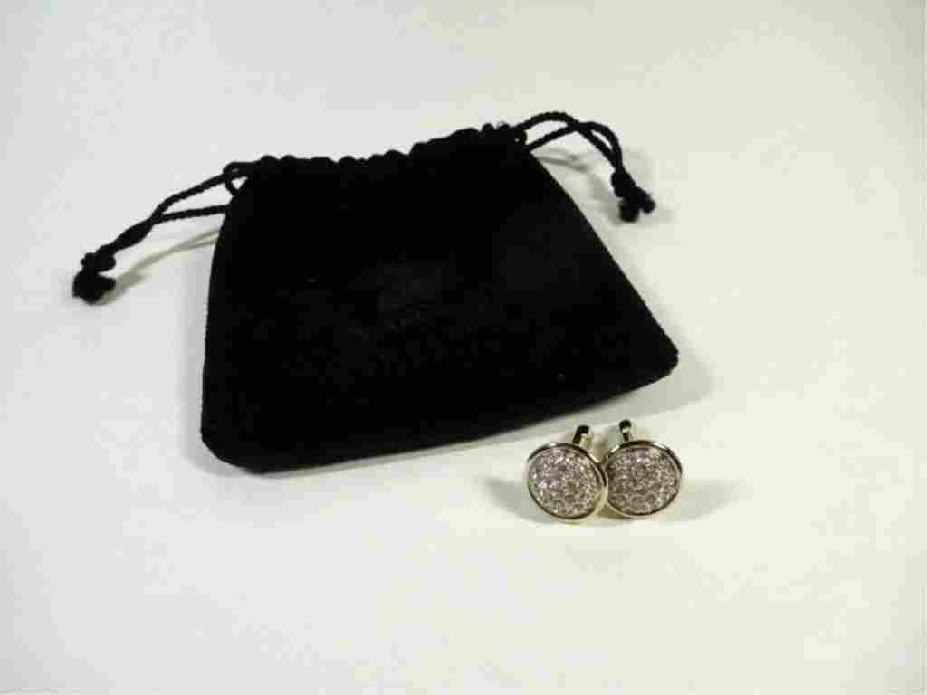 "PAIR SWAROVSKI CRYSTAL CUFFLINKS, APPROX 5/8"" DIAMETER,"