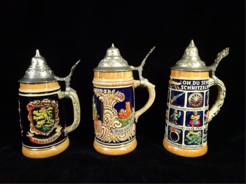 3 PC BEER STEINS, MADE IN GERMANY, INCLUDES GERZ AND