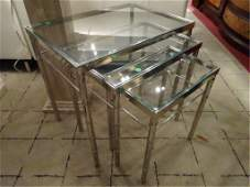 3 PC CHROME AND GLASS STACKING TABLES, BAMBOO MOTIF,