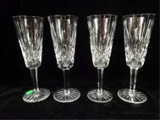 4 WATERFORD CRYSTAL LISMORE CHAMPAGNE FLUTES APPROX