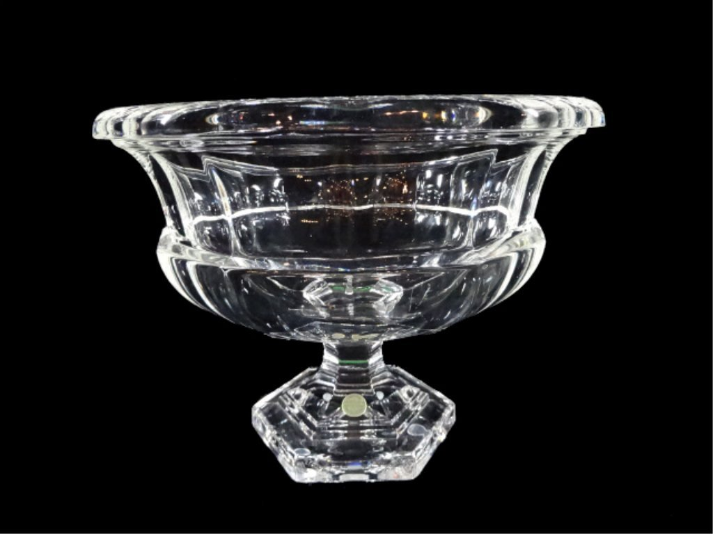 LARGE 24% LEAD CRYSTAL PEDESTAL BOWL, WITH MADE IN