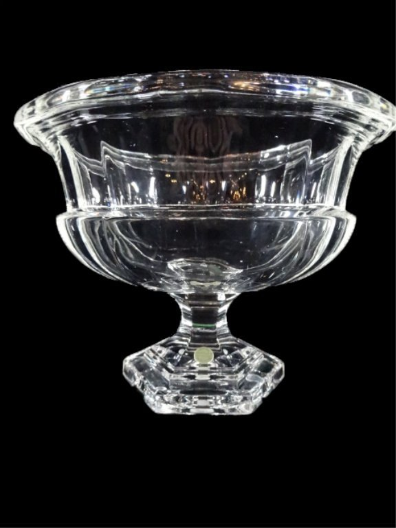 LARGE 24% LEAD CRYSTAL PEDESTAL BOWL, WITH MADE IN - 3