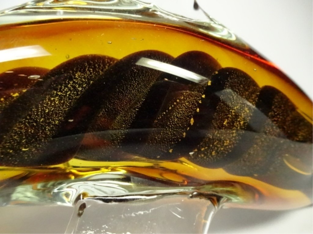 MURANO STYLE ART GLASS SCULPTURE, AMBER DOLPHIN, APPROX - 5