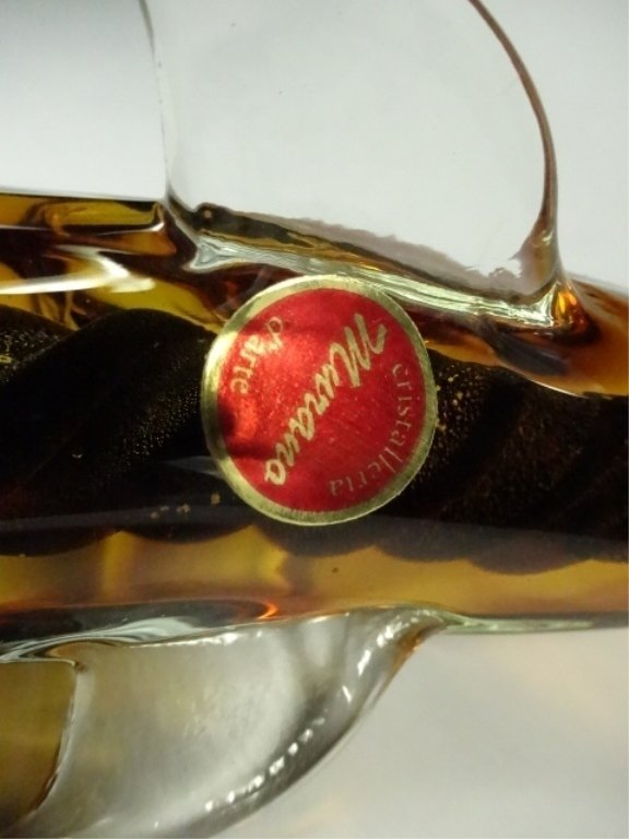 MURANO STYLE ART GLASS SCULPTURE, AMBER DOLPHIN, APPROX - 7