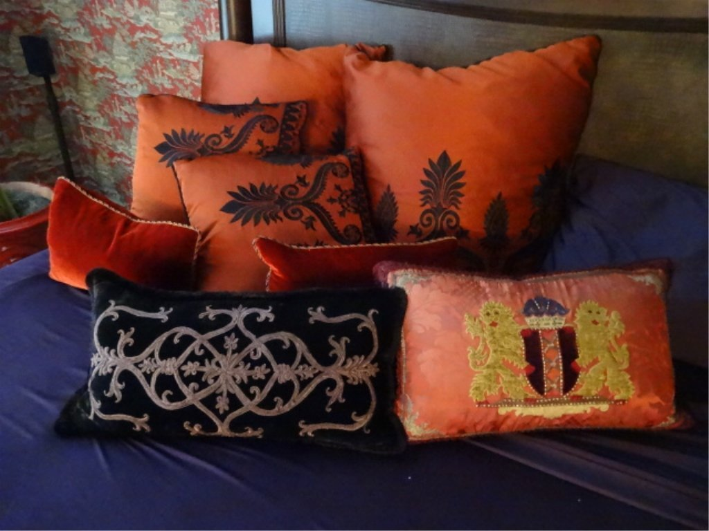 "8 PC RED AND BLACK ACCENT PILLOWS, LARGES APPROX 22""W, - 2"