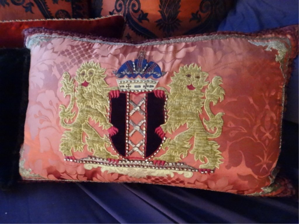"""8 PC RED AND BLACK ACCENT PILLOWS, LARGES APPROX 22""""W, - 3"""