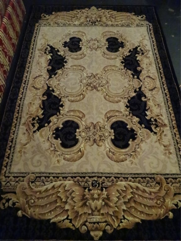 100% WOOL RUG, IVORY AND GOLD WITH BLACK BORDER,