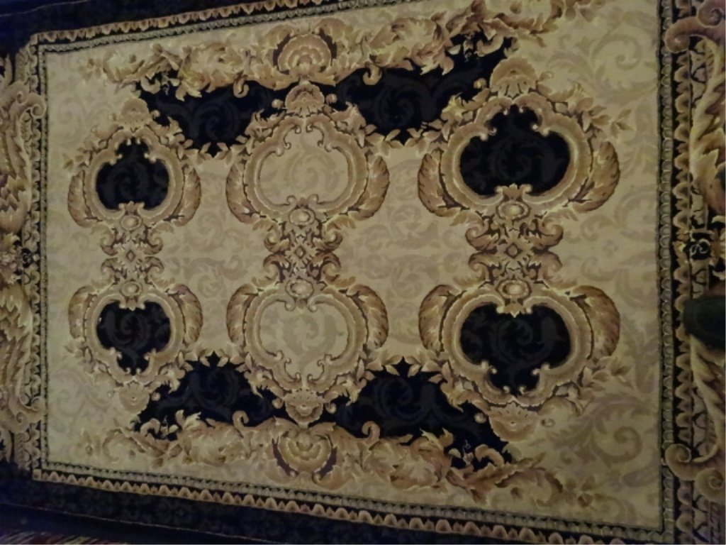 100% WOOL RUG, IVORY AND GOLD WITH BLACK BORDER, - 2