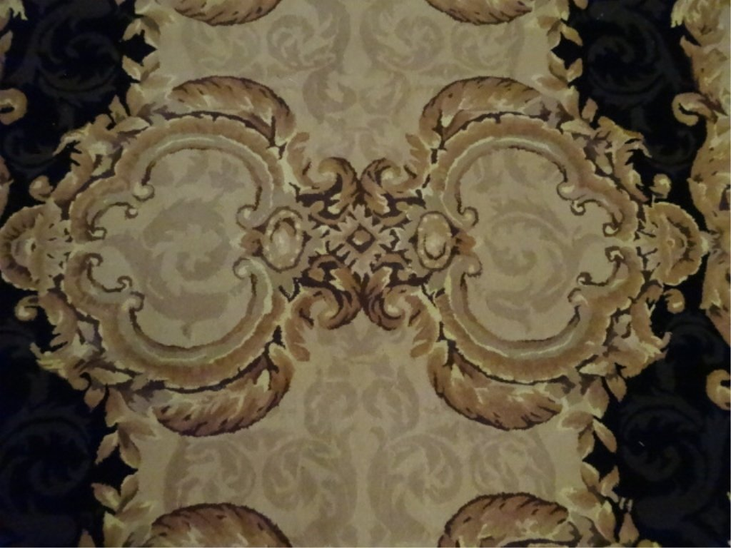 100% WOOL RUG, IVORY AND GOLD WITH BLACK BORDER, - 3