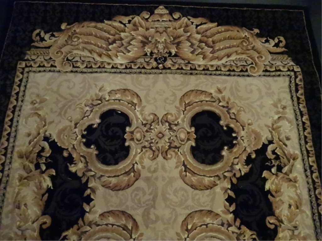 100% WOOL RUG, IVORY AND GOLD WITH BLACK BORDER, - 4