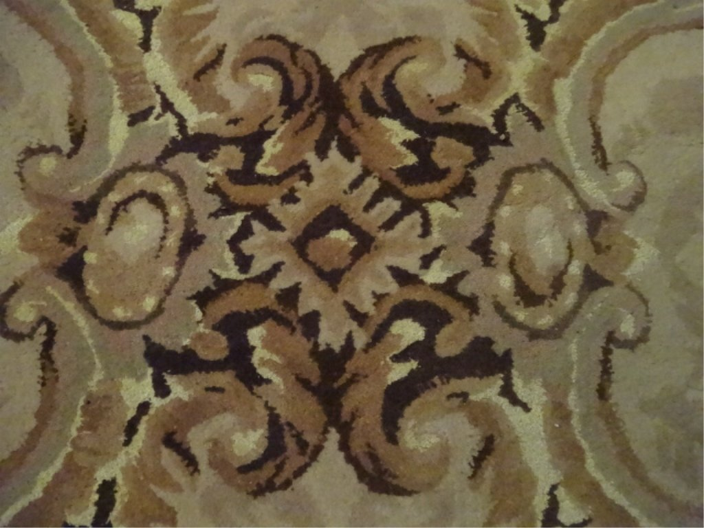 100% WOOL RUG, IVORY AND GOLD WITH BLACK BORDER, - 6