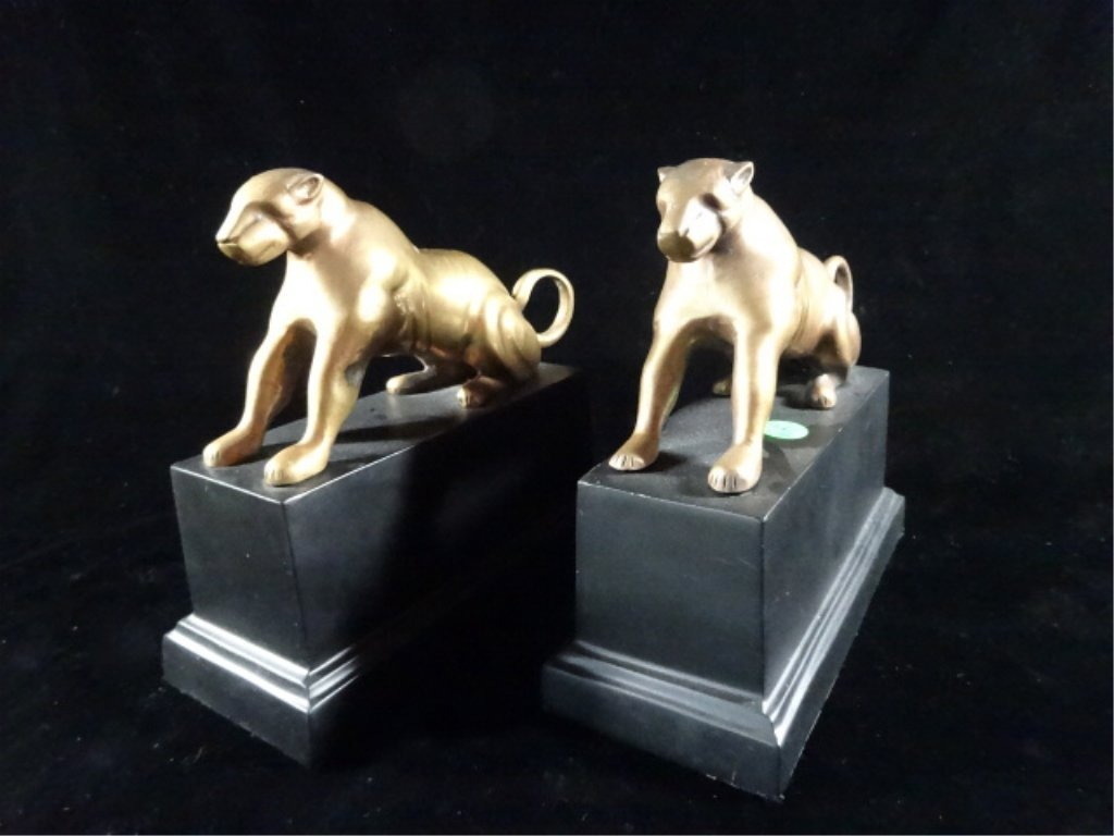 "2 CROUCHING CAT BOOKENDS / SCULPTURES, APPROX 8"" X 9"""
