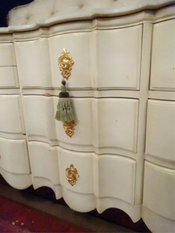 4 PC KING LOUIS XV STYLE BEDROOM SET, WHITE AND GOLD, - 6