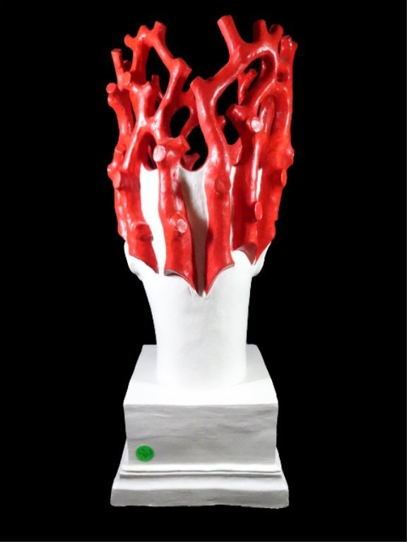 PAINTED CERAMIC VASE, WHITE HEAD WITH RED CORAL - 5