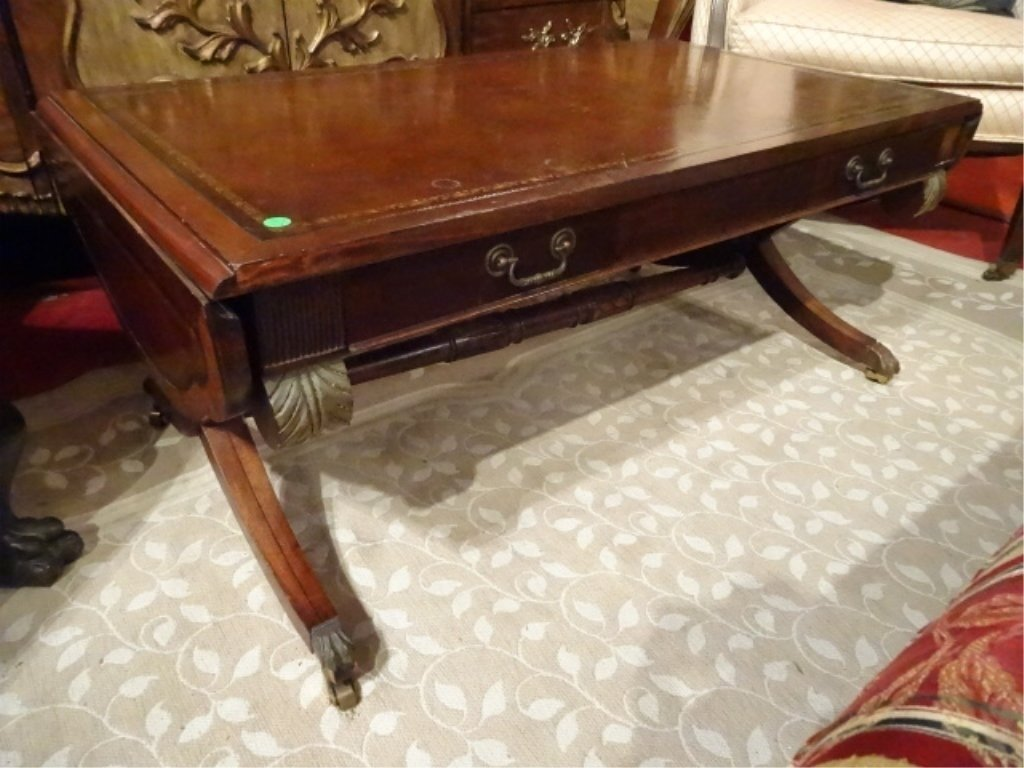 MAHOGANY LEATHER TOP COFFEE TABLE, DROP LEAF, BRASS PAW