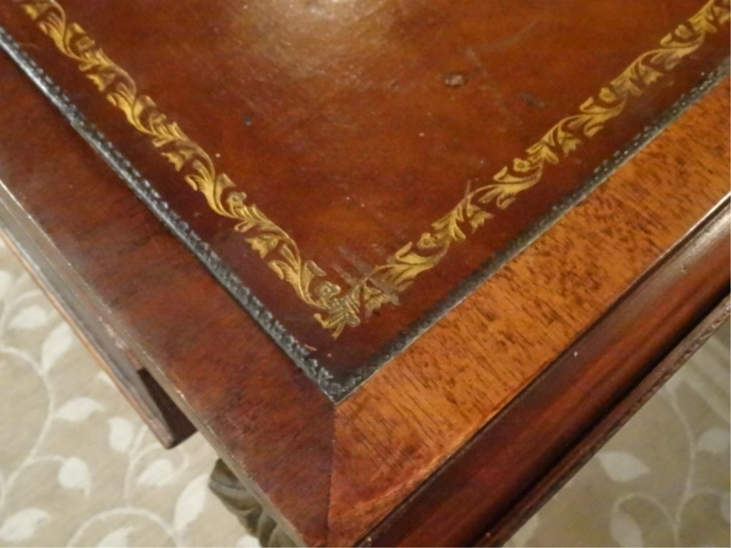 MAHOGANY LEATHER TOP COFFEE TABLE, DROP LEAF, BRASS PAW - 4