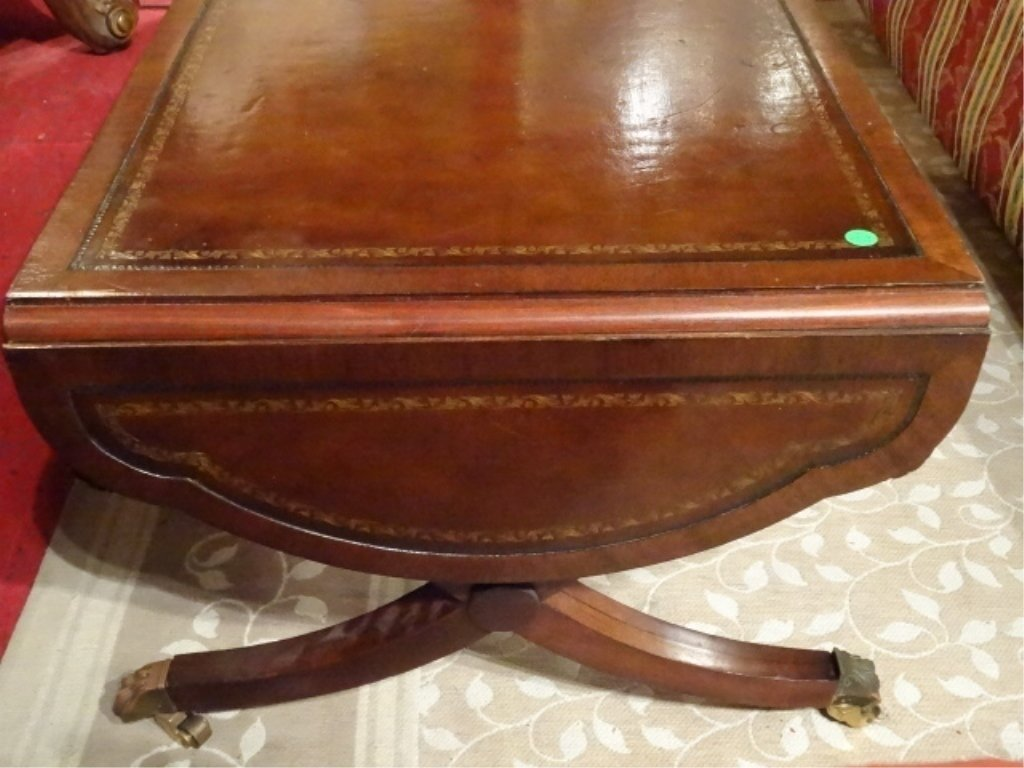 MAHOGANY LEATHER TOP COFFEE TABLE, DROP LEAF, BRASS PAW - 5