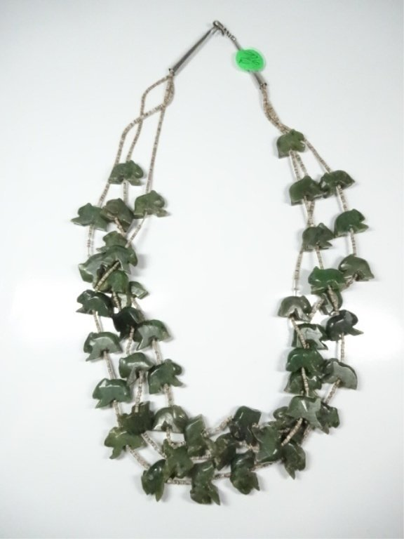 "ALASKAN JADE NECKLACE, CARVED BEARS, APPROX 25""L"