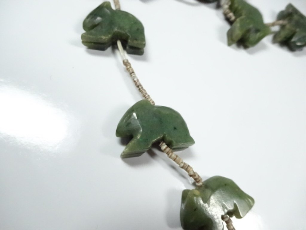 "ALASKAN JADE NECKLACE, CARVED BEARS, APPROX 25""L - 3"