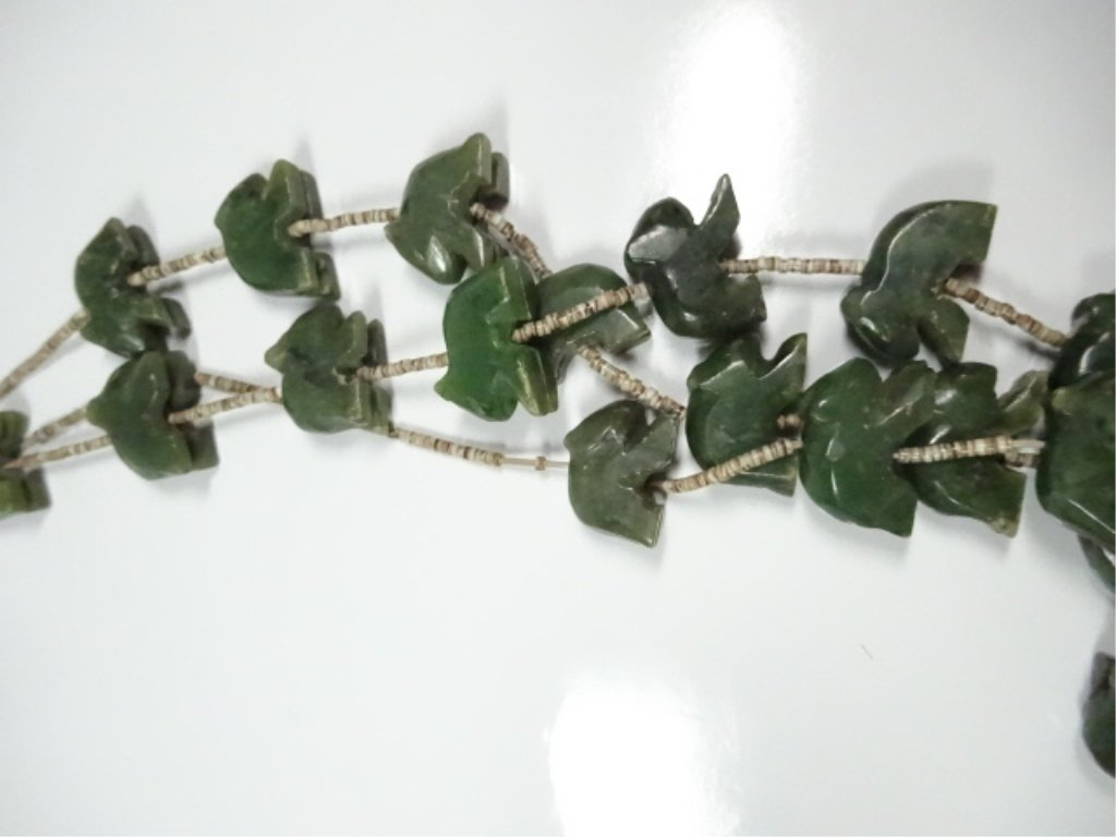 "ALASKAN JADE NECKLACE, CARVED BEARS, APPROX 25""L - 4"