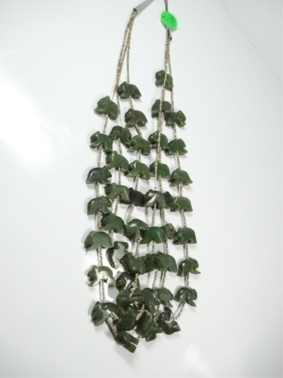 "ALASKAN JADE NECKLACE, CARVED BEARS, APPROX 25""L - 5"