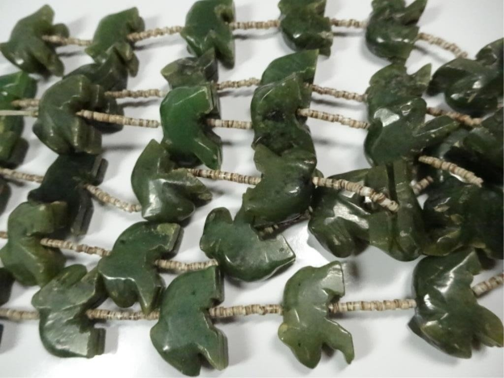 "ALASKAN JADE NECKLACE, CARVED BEARS, APPROX 25""L - 6"