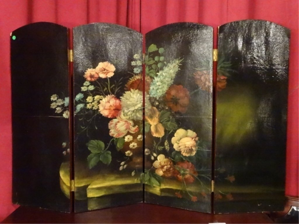 4 PANEL PAINTED SCREEN, FLORAL STILL LIFE, VERY GOOD