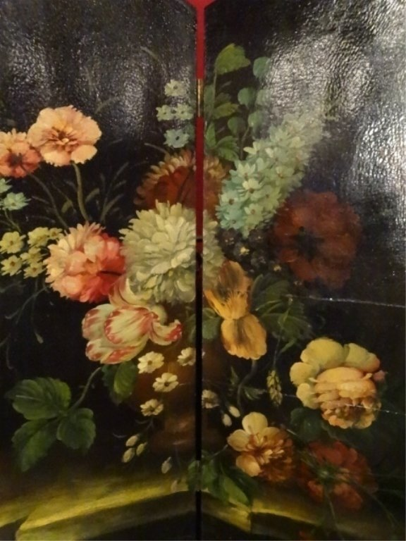 4 PANEL PAINTED SCREEN, FLORAL STILL LIFE, VERY GOOD - 2
