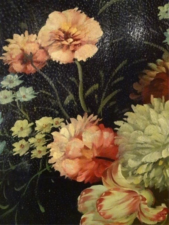 4 PANEL PAINTED SCREEN, FLORAL STILL LIFE, VERY GOOD - 3