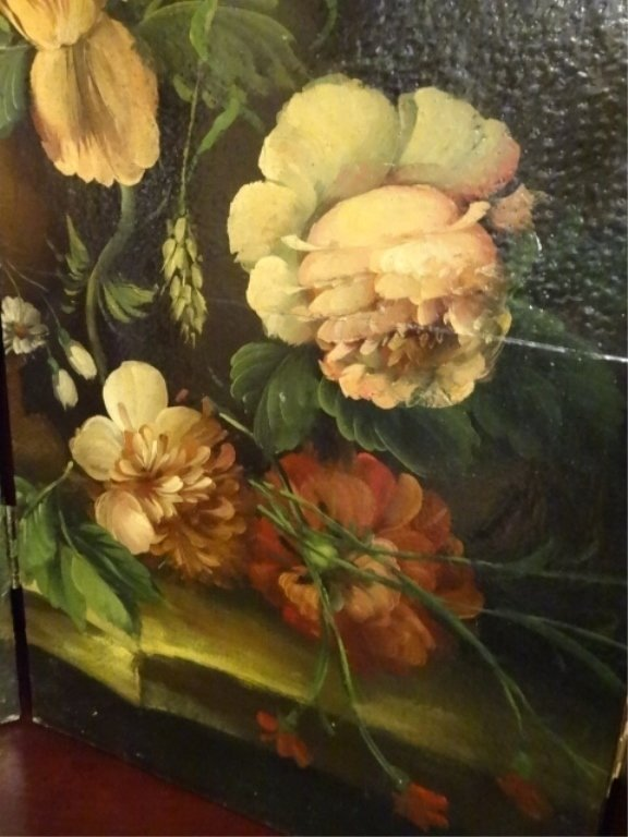 4 PANEL PAINTED SCREEN, FLORAL STILL LIFE, VERY GOOD - 4