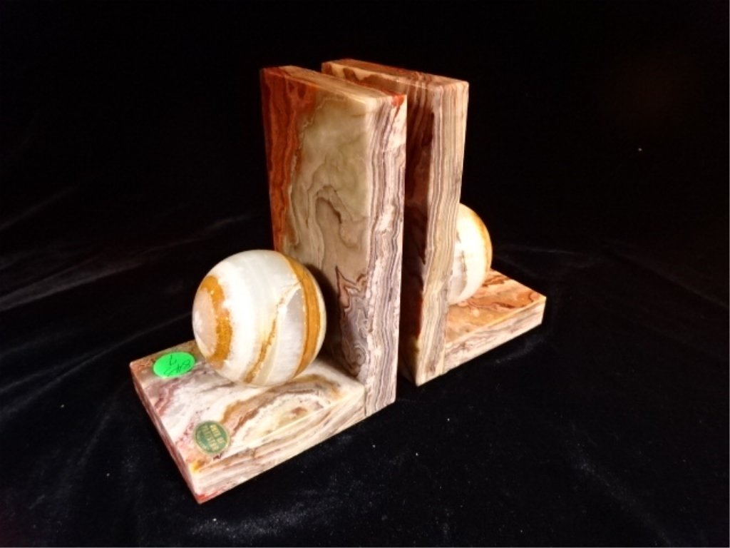 PAIR ONYX BOOKENDS WITH ONYX ORBS, EXCELLENT CONDITION,