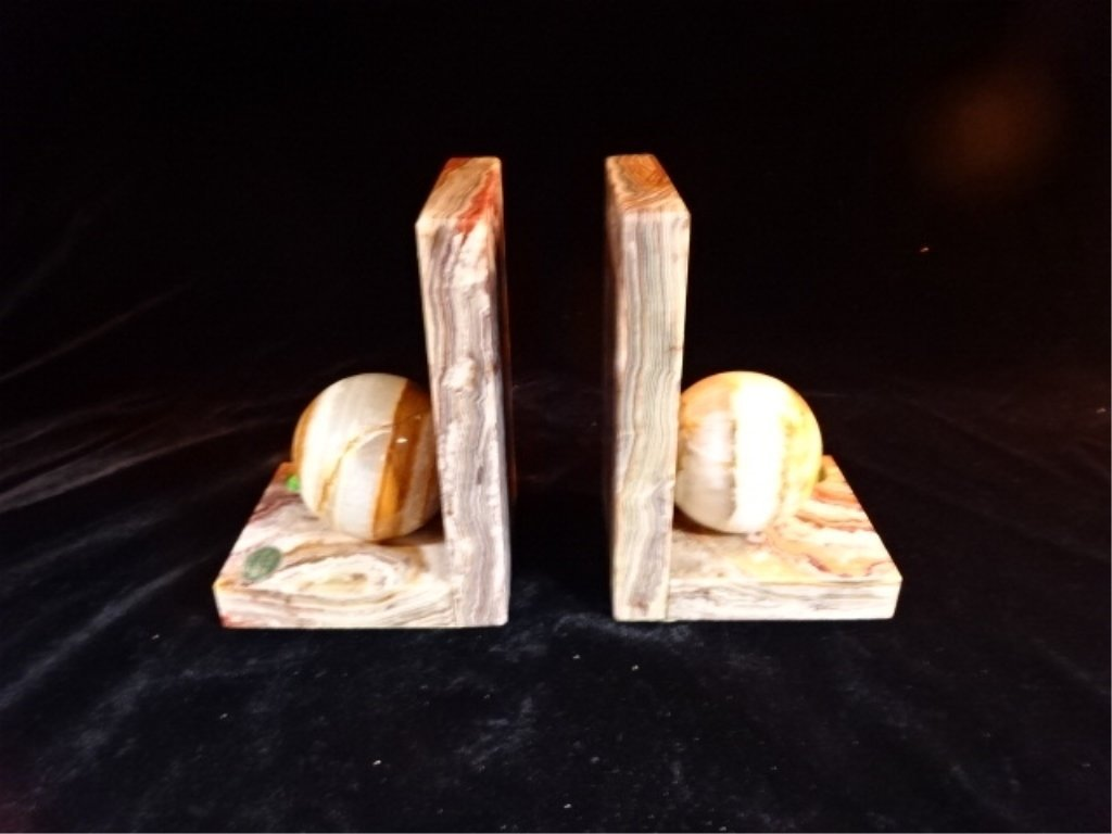 PAIR ONYX BOOKENDS WITH ONYX ORBS, EXCELLENT CONDITION, - 2