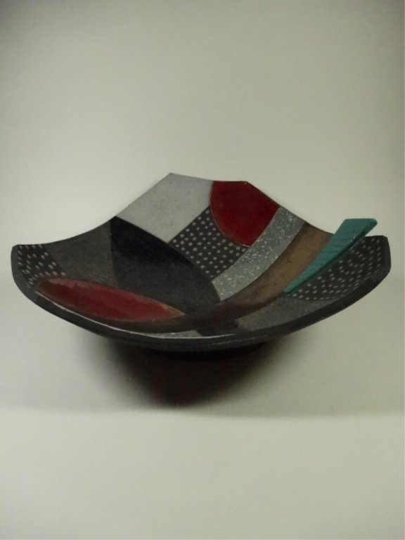 ART POTTERY BOWL, WITH HANGER, SIGNED BY ARTIST, APPROX - 4