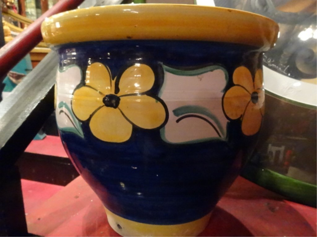 POTTERY PLANTER, BLUE WITH YELLOW AND WHITE FLORAL