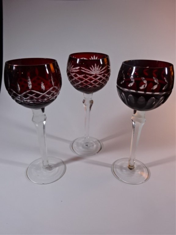 3 RUBY CUT TO CLEAR WINE GLASSES VERY GOOD CONDITION,