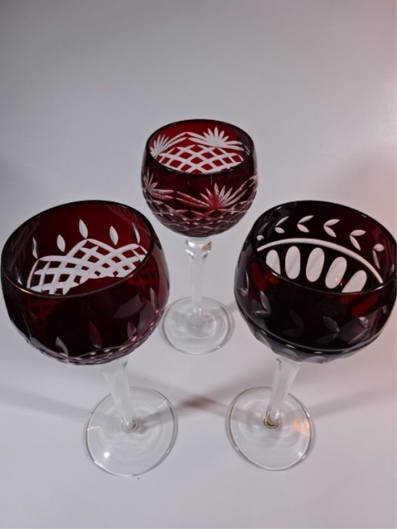 3 RUBY CUT TO CLEAR WINE GLASSES VERY GOOD CONDITION, - 2