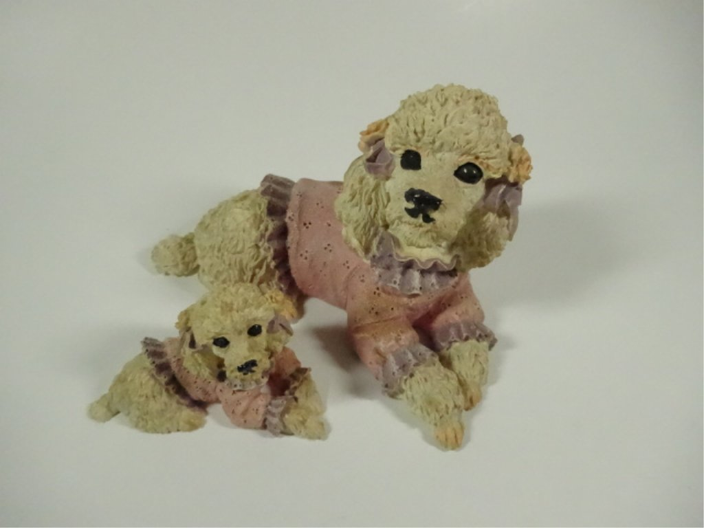 """2 POODLE FIGURINES, COMPOSITE, LARGER APPROX 3.5""""H - 2"""