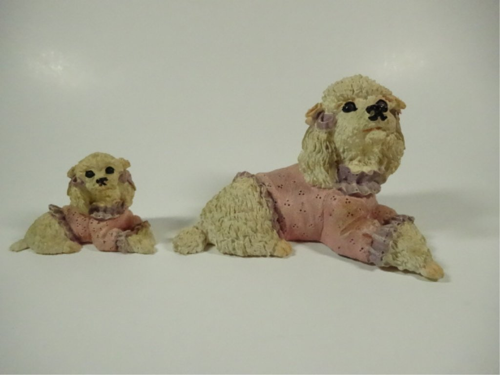 """2 POODLE FIGURINES, COMPOSITE, LARGER APPROX 3.5""""H - 3"""