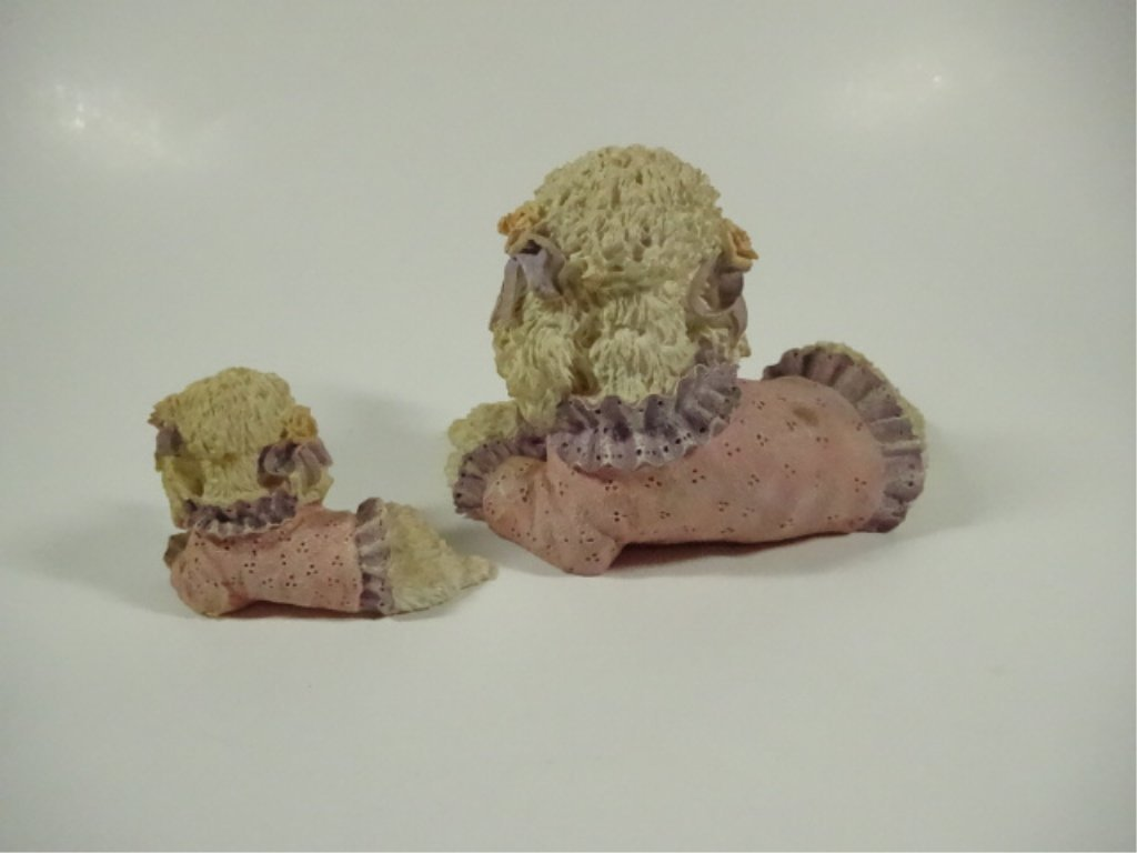 """2 POODLE FIGURINES, COMPOSITE, LARGER APPROX 3.5""""H - 4"""