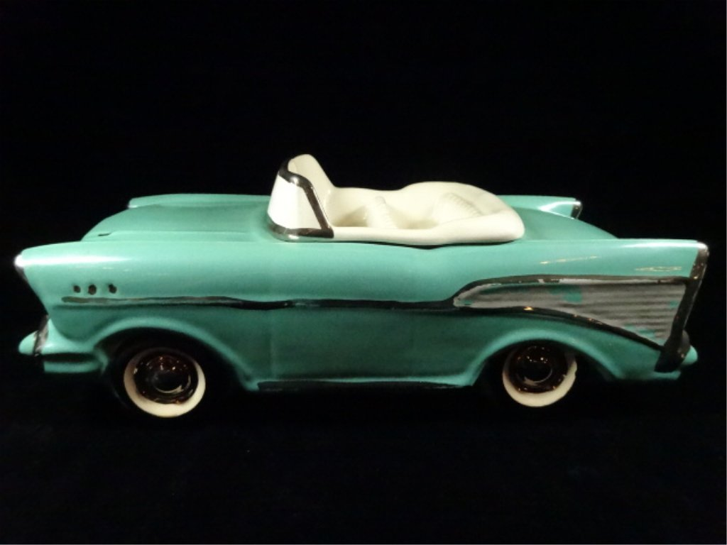 1957 CHEVY BEL AIR CONVERTIBLE COOKIE JAR, TEAL WITH