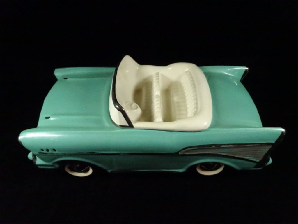 1957 CHEVY BEL AIR CONVERTIBLE COOKIE JAR, TEAL WITH - 2
